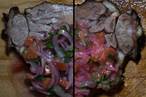 Zwei Kalbszungen mit verschiedenen Würzzutaten, kalt aufgesetzt. Aus dem Zungen-Sud lässt sich zum Beispiel eine Suppe herstellen. (Zürich, März 2014)