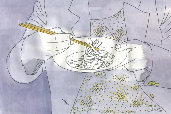 14. Juni 2014 Kurz bevor die Sonne untergeht und ich endlich den Projektor anwerfen kann, serviert das Restaurant «Sans Table» (HOIO) die «Soupe des voleurs» – eine Lemusische Nudelsuppe mit viel Geschichte und ein wenig geräucherter Kuttel.