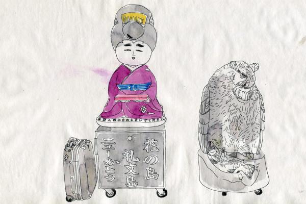 21. Juli 2014 Nach einer vierstündigen Fahrt mit der Fähre von Wakkanai kommen wir auf der Insel Rebun an. Bei der Anlagestelle verkaufen Souvenirläden Kunsthandwerk von den Ureinwohnern, den Ainus. Ich fühle mich ein wenig wie in Zermatt.