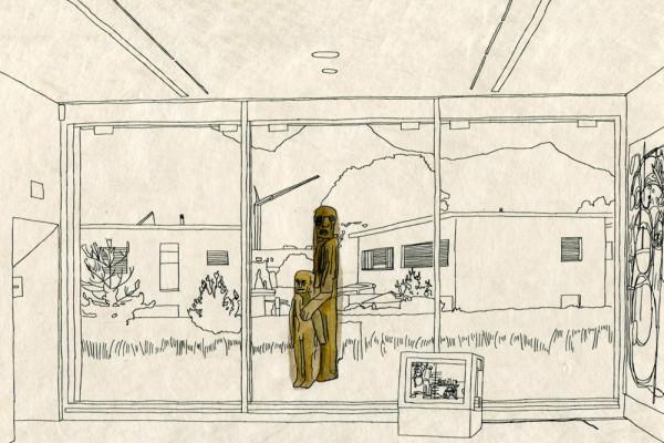 15. September 2014 Die Ausstellung «Gotteserfahrung und Teufelsküche» im Kunsthaus Altdorf versammelt allerlei Eigentümliches. Noch unheimlicher und bedrohlicher als die sorgfältig arrangierten Exponate aber sind zwei Holzfiguren, die vor dem Fenster stehen – wie ungebetene Gäste.