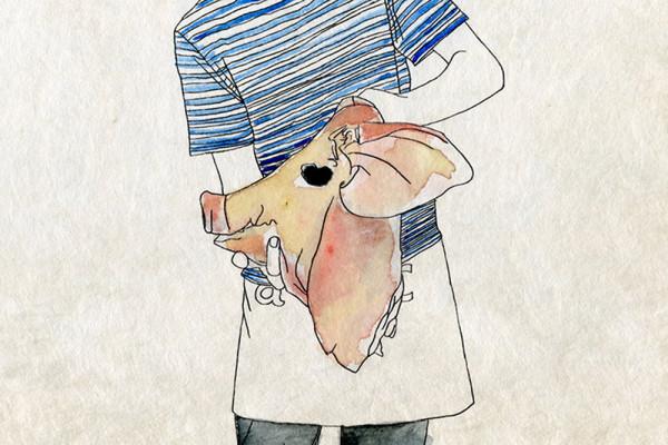 15. November 2014 Samuels heutiges Kochprojekt ist ein Schweinskopf. Das Teil wiegt fast  10 kg und ist so gross, dass es nur in der Dusche gewaschen werden kann.