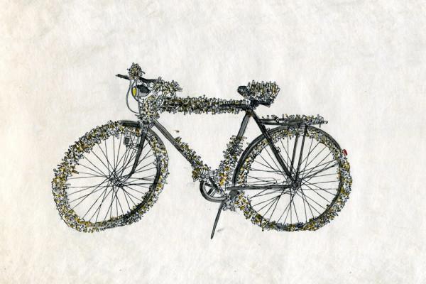 21. Februar 2015 Die Ausstellung «Voglio vedere le mie montagne», über die Samuel schreiben will, ist Anlass für eine kleine Exkursion nach Galarate in Norditalien. Beim Exponat von Ingeborg Lüscher, einem Fahrrad mit einem Pelz aus Zigarettenstummeln, denke ich an den Zigarettenschmuggel, der früher auch im Wallis rege betrieben wurde.