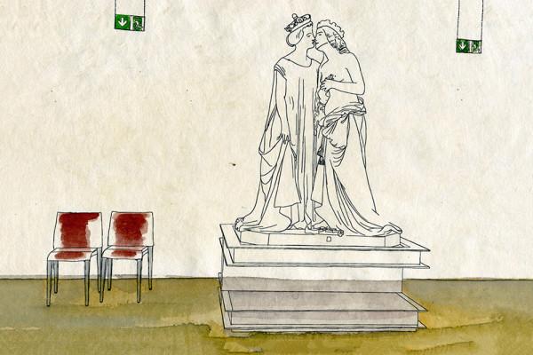 23. Mai 2015 Im Museo Vincenzo Vela in Ligornetto (Abteilung «Schönheit und Allegorie») entdecke ich zwei sich küssende Frauen. Später erfahre ich, dass es sich hierbei um ein Treffen zwischen Frankreich und dem nackt dargestellten Italien handelt – ein Auftragswerk der patriotischen Frauen Mailands, als Geschenk für die Frau Napoleons III.